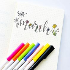 Bullet journal monthly cover page, March cover page, hand lettering, flower doodles.   @yogis_bujo