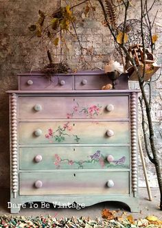": This dresser has sold, please do not purchase. Thank you for viewing our one of a kind pieces. "" Falling For You "" ! This Sweet Vintage Dresser was created with layers of chalk clay base paint ~ lavender , soft green tones , white and touches o Funky Furniture, Paint Furniture, Repurposed Furniture, Shabby Chic Furniture, Furniture Projects, Rustic Furniture, Furniture Makeover, Vintage Furniture, Furniture Stores"