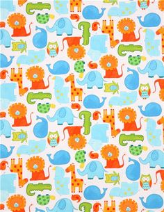 white animal safari fabric abc safari by StudioE fabrics