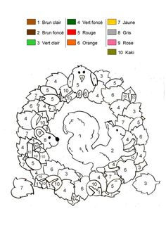 Coloriage magique : écureuil d'automne