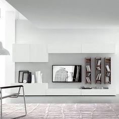 Die moderne Wohnwand C50B von FGF Mobili verfügt über einen automatischen Softeinzug.  #modern #wohnwand #tv #wohnzimmer #sideboard #livingroom #lowboard #tvboard #tv #interiordesign