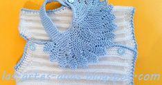 Una fresca camisita de bebé talla 3 meses, PARA ESTE VERANO, está tejida en perlé blanco y agujas del nº 2 y medio, su DISEÑO EN VERTICAL...