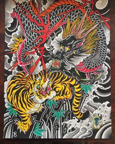 40 Tiger Dragon Tattoo Designs For Men Manly Ink Ideas Jason Tyler Grace Japanese Tattoo Art Dragon Tattoo Art Tiger Vs Dragon By Thetruefoldedsteel On Deviantart 45 Dragon And Tiger Tattoos Japanese Tiger Tattoo, Japanese Dragon Tattoos, Japanese Tattoo Designs, Japanese Sleeve Tattoos, Dragon Tattoo Art, Dragon Tattoo Designs, Dragon Art, Dragon Sleeve Tattoos, Traditional Tattoo Cover Up