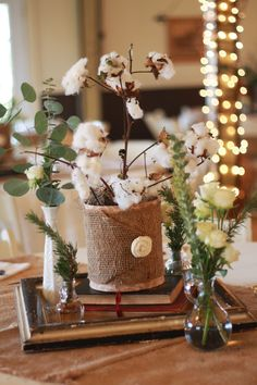 Old frame and book centerpiece