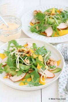 Salade gerookte kip, avocado en mango !