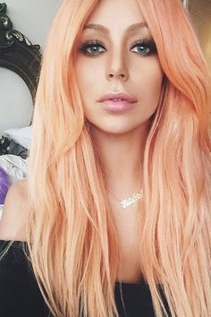 22 trendy hair color orange pink make up Pastel Coral Hair, Coral Hair Color, Peach Hair Colors, Hair Color For Black Hair, Pink Hair, Blue Colors, Hair Colour, Apricot Hair, Hair Trends