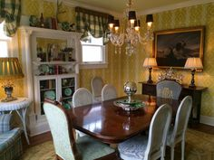 Haute Indoor Couture: Mom's New Dining Room Wallpaper is Up!