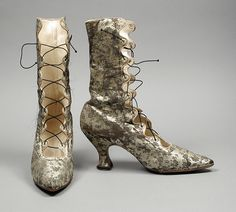 Pair of Womans Boots Made Of Brocaded Silk Satin And Leather - Probably France  c.1889 - LACMA Collections