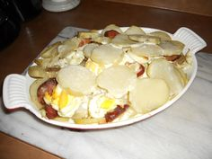 Hungarian Layered Potatoes or Rakott Krumpli is made from sliced potatoes, sour cream, boiled eggs and good Hungarian sausage. Layered and baked, another amazing dish.