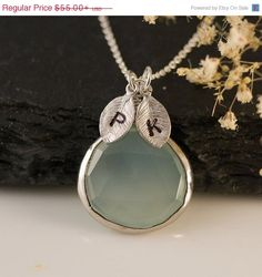 CYBER MONDAY SALE  Aqua Blue Chalcedony Necklace  by delezhen