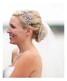 Hairstyles, Bella Wedding Hairstyles Blonde Bride Low Loose Updo Rhinestone Headband Tulle Veil Detail: Hairstyles with veil