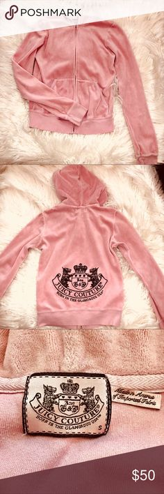 💗Valentines PROMO 💗VINTAGE Juicy Couture jacket Light pink velour Juicy Couture jacket with classic Juicy Couture trademark on the back! Great condition! Fits like an XS Juicy Couture Jackets & Coats