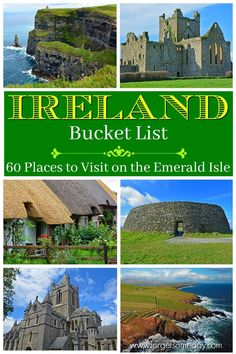 60 Places to Visit in Ireland - Planning a trip to Ireland? Get your hands on this Ireland Bucket List! It includes 60 places to visit on the Emerald Isle and comes with a FREE photo guide! Ireland Travel Guide, Europe Travel Guide, Budget Travel, Travel Tips, Travel Ideas, Ireland Places To Visit, Cool Places To Visit, Places To Go, European Destination
