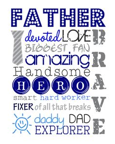 This free Printable Father's Day Subway Art from SIGnature Creations would make a great gift when framed for Dad or you could use osme of teh words to create your own custom piece of