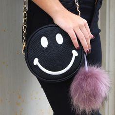 Smiley Face Crossbody Black Crossbody Does NOT include key chain fur ball. Bags Crossbody Bags