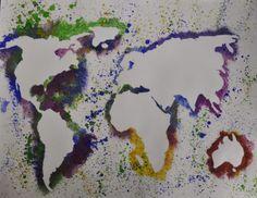 ooak original world map art colorful watercolor painting 5 x 7 watercolors originals and. Black Bedroom Furniture Sets. Home Design Ideas