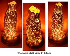 """""""Poseidon's Night Light"""" by R. Poole www.rpooledesigns.com - Sold at Datura Gallery. Now gourd lamp resides somewhere in Las Vegas."""