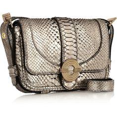 Lara Bohinc Metallic python shoulder bag (13,795 MXN) ❤ liked on Polyvore featuring bags, handbags, shoulder bags, brown shoulder bag, snake skin handbags, snakeskin purse, snakeskin handbags and metallic handbags