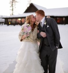 Vintage winter fur wedding