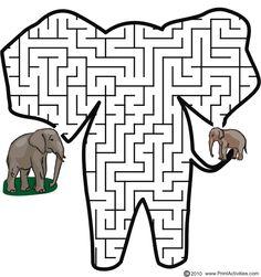 Elephant shaped maze from PrintActivities.com