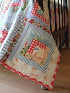 Gorgeous! blue and red log cabin quilt
