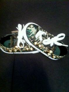 Camo Kids studded converse shoes by karpsa on Etsy, $40.00
