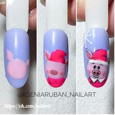 Pig nail art is in a high demand now. See the cutest nail designs with this year`s symbol! Pig Nail Art, Pig Nails, Animal Nail Art, New Year's Nails, Christmas Nail Designs, Nail Designs Spring, Christmas Nail Art, Holiday Nails, Nail Art Designs