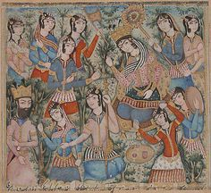 Solomon and the Queen of Sheba (?) Object Name: Folio from an illustrated manuscript Date: early 19th century Geography: Iran
