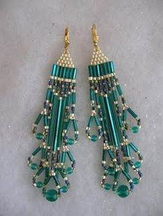 Turquoise Beaded Earrings With Bugle Beads