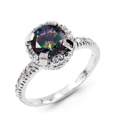 New 14k White Gold Round Cut CZ Mystic Fire Topaz Ring
