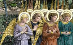Angels praying in a fresco by Benozzo Gozzoli