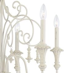 """Scrolled Tiers 28"""" Wide Antique White 6-Light Chandelier - #65T74 