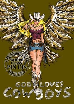 PinUp Cowboy Angel - God Loves Cowboys