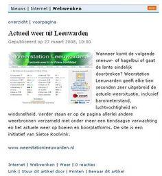 Weerstation Leeuwarden - In de media, krantenartikelen en interviews