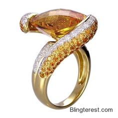 18K Yellow #Gold RKhordipour #Citrine, Spessartite & #Diamond #Ring  #Jewelry http://blingterest.com/rings/other-rings/18k-yellow-gold-rkhordipour-citrine-spessartite-diamond-ring-r1410-jewelry/