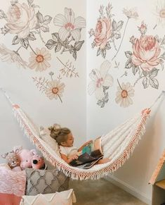 kids room Here come the sunwall decals are an easy and fun way to bring theflowersinside to your baby nursery, kids bedroom and home. Youll love that our wall decals are: removable and Baby Bedroom, Baby Room Decor, Nursery Room, Bedroom Decor, Baby Girl Bedroom Ideas, Bedroom Hammock, Flower Room Decor, Girls Flower Bedroom, Wallpaper For Girls Bedroom