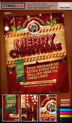 Vintage Merry Christmas Flyer Template PSD #design #xmas Download: http://graphicriver.net/item/vintage-christmas-flyer-template/14003712?ref=ksioks