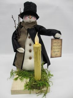 LIght the Way Snowman decor Rustic snowman with Candle Snowman Decorations, Christmas Decorations, Holiday Decor, White Washed Pine, Christmas Snowman, Christmas Ornaments, Primitive Snowmen, Cute Snowman, Craft Fairs