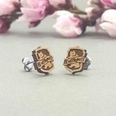 Harry Potter Hufflepuff Crest Laser Engraved Wood Earrings