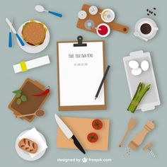 Kitchen elements and menu Free Vector