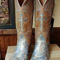 672a1879b Custom Blue Python Black Jack Boots. Made in USA!! #BluePython #MuleBarn  #CrossInlay #BeautifulBoots