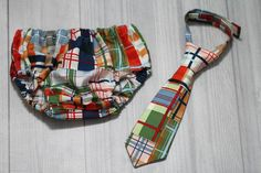 Patchwork Plaid Diaper Cover and Tie Set. Birthday by SewEcstatic1, $26.00