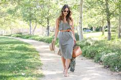 This Olive Green Slip Dress is perfect for summer--can dress it up or down!