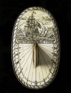 """Thomas Tuttell scrimshaw sundial, early 19th century. Ivory and brass, 14 × 8 cm (5.5 × 3.1"""")"""