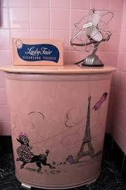 vintage pink clothes hamper