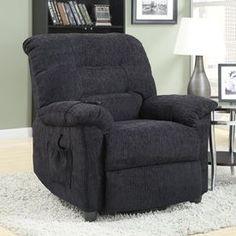 Coaster Fine Furniture Dark Grey Chenille Powered Recliner 601015