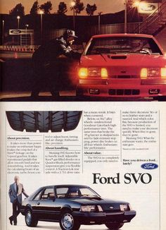 1984 SVO advertisement. 2.3L Turbocharged 4-cylinder Rated @ 175 HP.