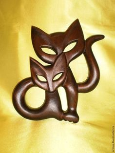 Купить Пара кошек на стену - коричневый, коты, Кошки, кот, кошка, котенок, котята, статуэтка