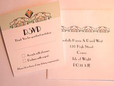Art Deco Wedding Reply Card - Opera design