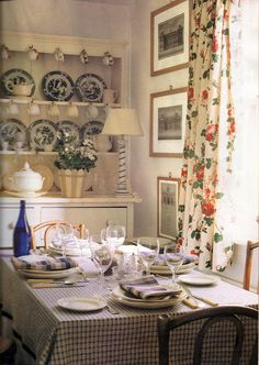 Love this Colefax and Fowler chintz and the check cloth. Kitchens I Have Loved: English Decor